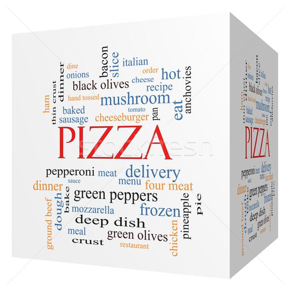 Foto stock: Pizza · 3D · cubo · nuvem · da · palavra · calabresa
