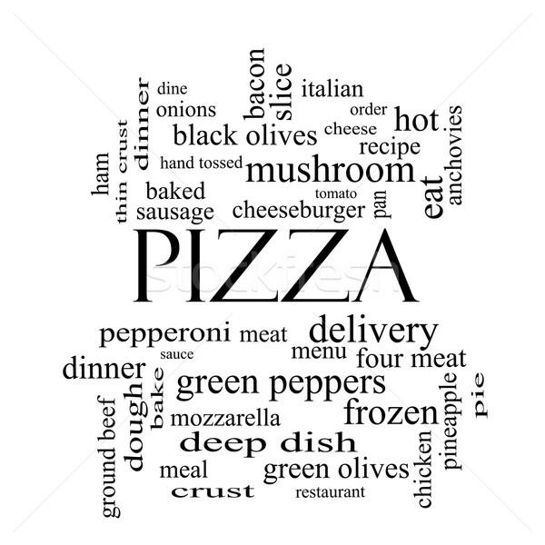 Foto stock: Pizza · nuvem · da · palavra · preto · e · branco · calabresa · menu