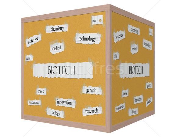 Biotech 3D cubo parola Foto d'archivio © mybaitshop