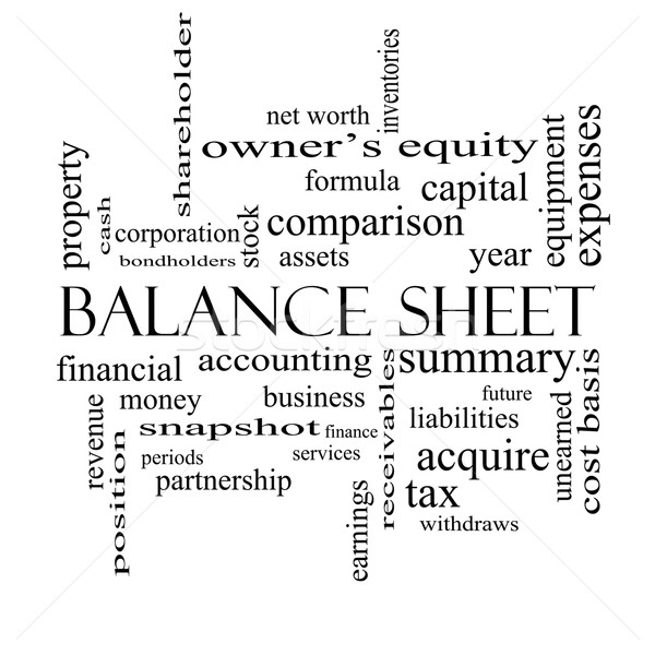 Balance Sheet Word Cloud Concept in black and white Stock photo © mybaitshop