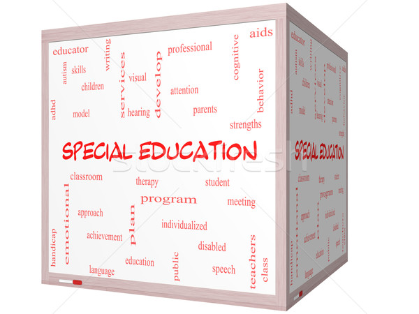 Special Education Word Cloud Concept on a 3D cube Whiteboard Stock photo © mybaitshop