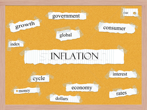 Enflasyon kelime muhteşem ekonomi mantar Stok fotoğraf © mybaitshop