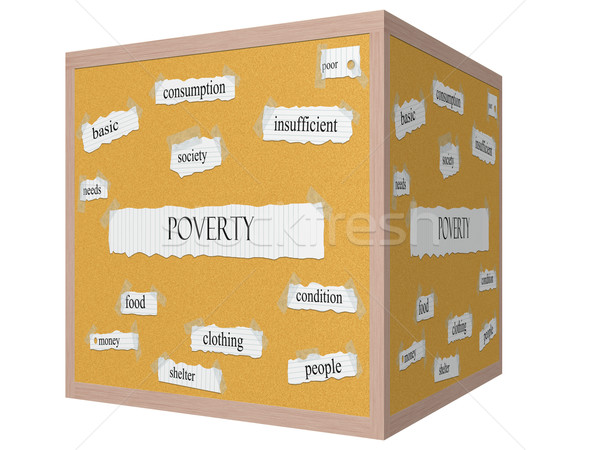 Poverty 3D cube Corkboard Word Concept Stock photo © mybaitshop
