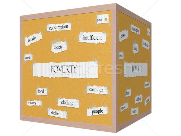 Armoede 3D kubus woord groot fundamenteel Stockfoto © mybaitshop