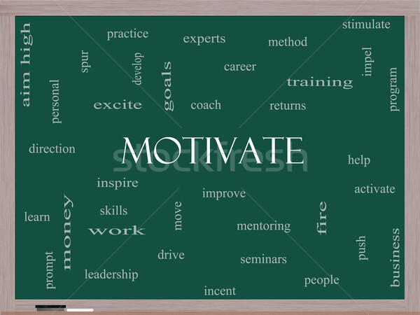 Motivate Word Cloud Concept on a Blackboard Stock photo © mybaitshop