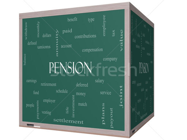 Pension Word Cloud Concept on a 3D cube Blackboard Stock photo © mybaitshop