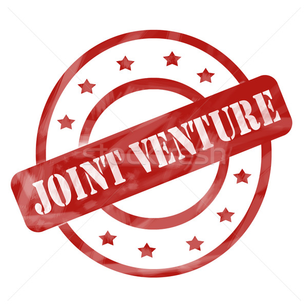 Red Weathered Joint Venture Stamp Circles and Stars Stock photo © mybaitshop