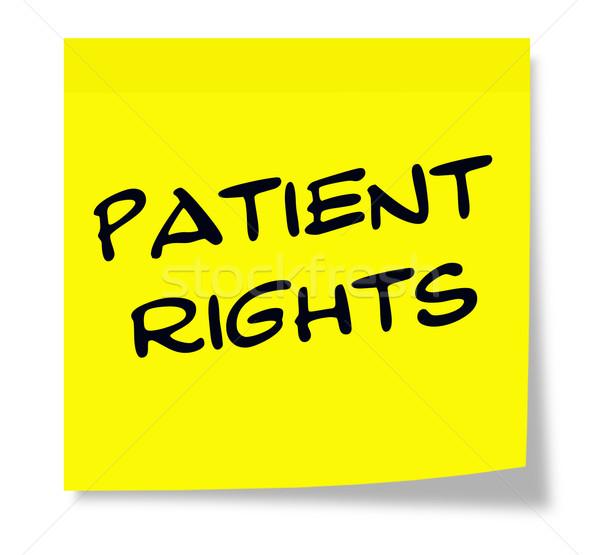 Beteg jogok öntapadó jegyzet írott papír citromsárga Stock fotó © mybaitshop