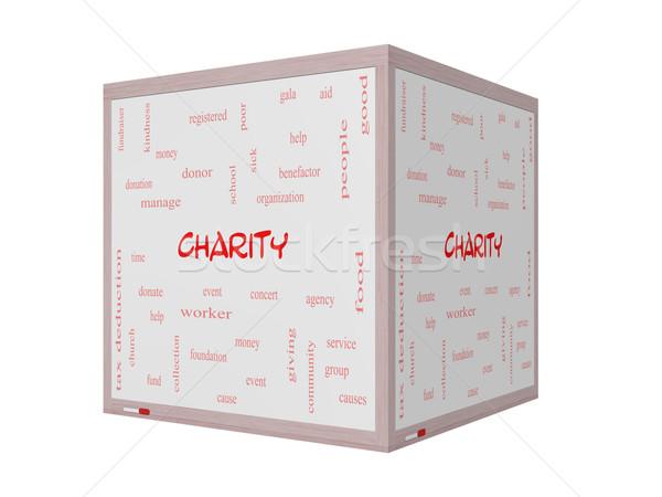 Jótékonyság szófelhő 3D tábla nagyszerű adományoz Stock fotó © mybaitshop