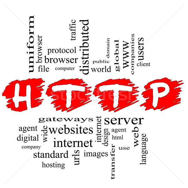 Http nuage de mots magnifique domaine serveur html Photo stock © mybaitshop