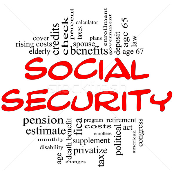 Social Security Word Cloud Concept in red & black Stock photo © mybaitshop