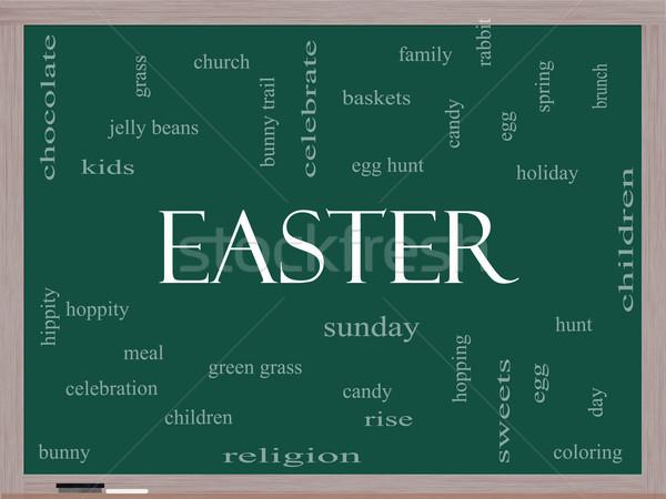 Easter Word Cloud Concept on a Blackboard Stock photo © mybaitshop