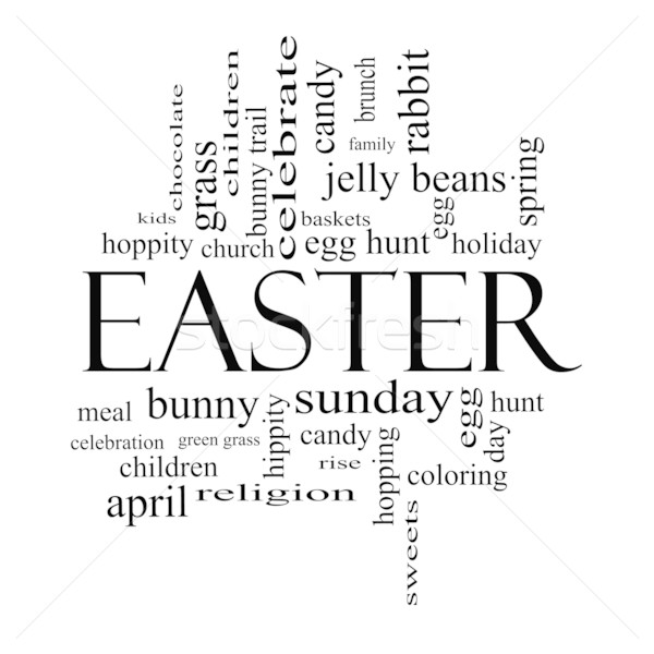 Easter Word Cloud Concept in Black and White Stock photo © mybaitshop