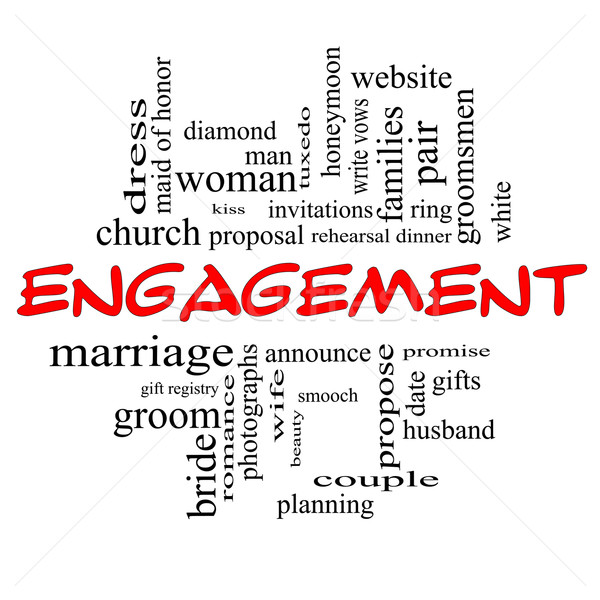 Engagement Word Cloud Concept in Red caps Stock photo © mybaitshop