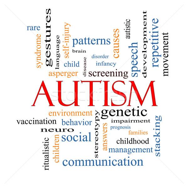 Autisme woordwolk groot sociale meer kinderen Stockfoto © mybaitshop