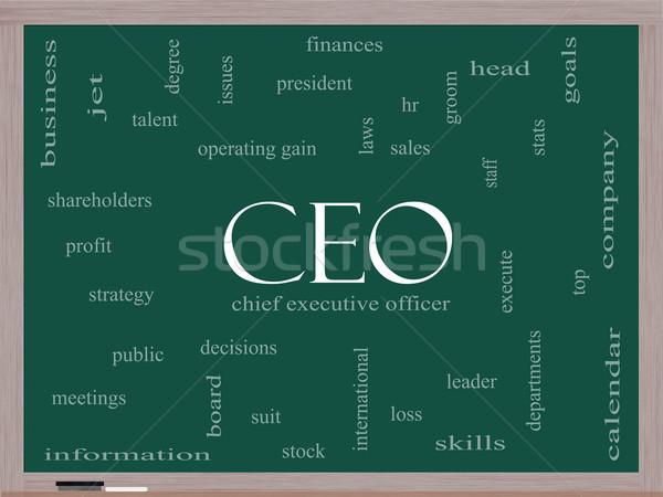 CEO Word Cloud Concept on a Blackboard Stock photo © mybaitshop