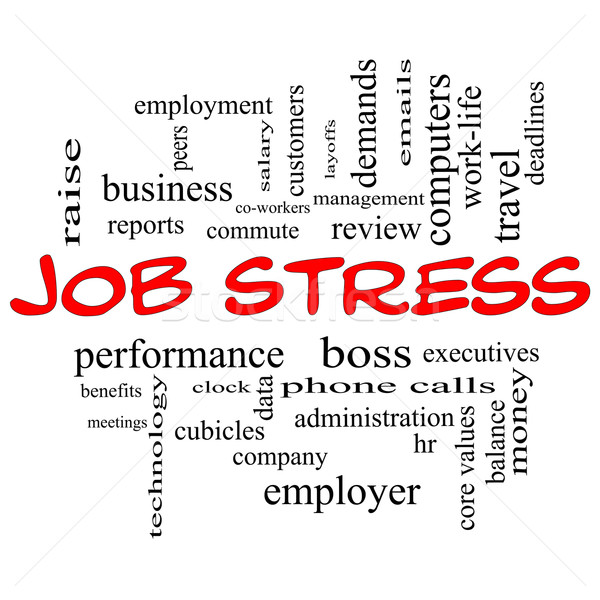 Job Stress Word Cloud Concept in Red Caps Stock photo © mybaitshop