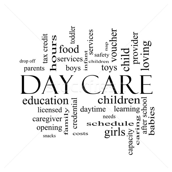 Day Care Word Cloud Concept in black and white Stock photo © mybaitshop