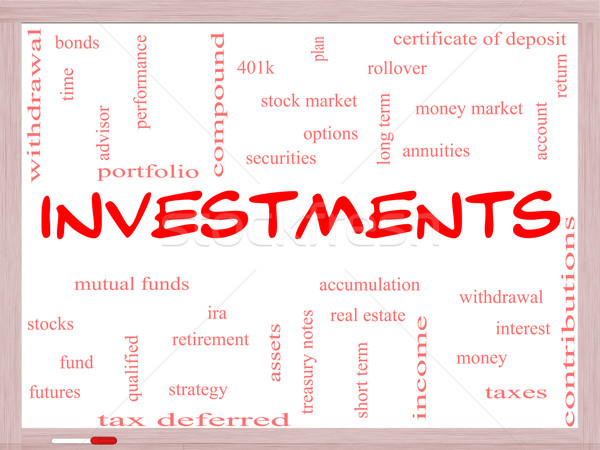 Investments Word Cloud Concept on a Whiteboard Stock photo © mybaitshop