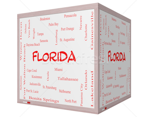 Florida State Word Cloud Concept on a 3D cube Whiteboard Stock photo © mybaitshop