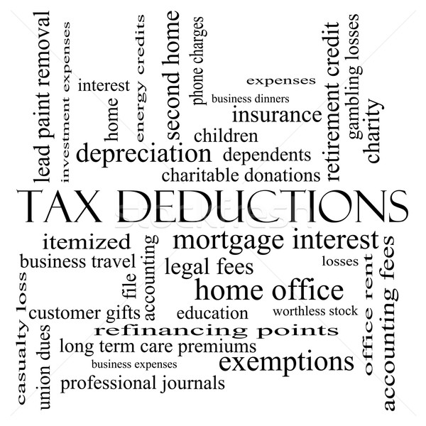 Stock photo: Tax Deductions Word Cloud Concept in black and white