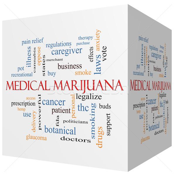Medical Marijuana 3D cube Word Cloud Concept Stock photo © mybaitshop