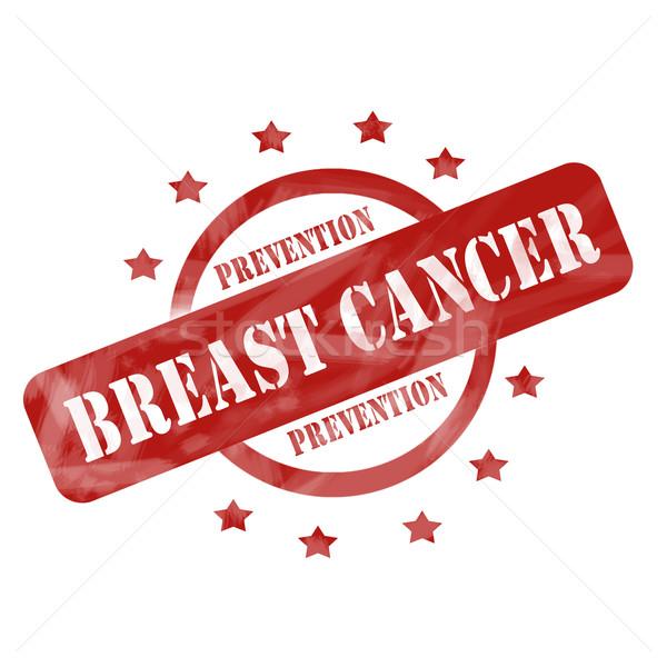 Rouge patiné cancer du sein prévention tampon cercle Photo stock © mybaitshop