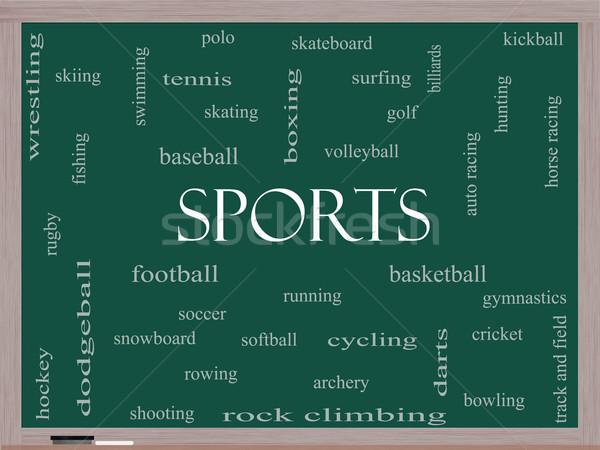 Sports Word Cloud Concept on a Blackboard Stock photo © mybaitshop
