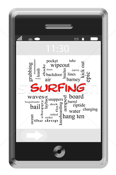 Surfing Word Cloud Concept on Touchscreen Phone Stock photo © mybaitshop