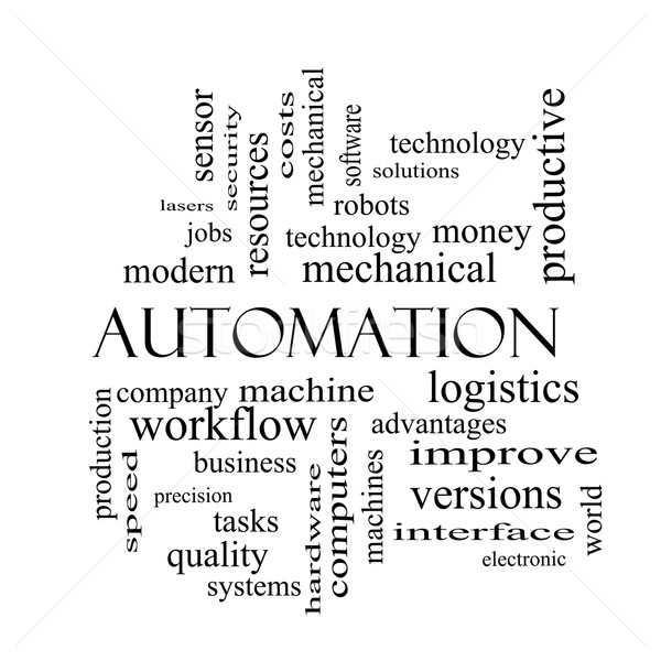Automation Word Cloud Concept in black and white Stock photo © mybaitshop