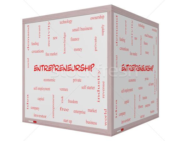 Girişimcilik kelime bulutu 3D küp muhteşem Stok fotoğraf © mybaitshop