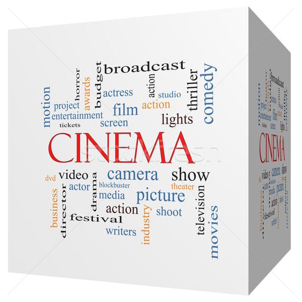 Cinema 3D cubo word cloud fotocamera Foto d'archivio © mybaitshop