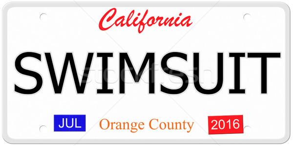 Maiô placa imitação Califórnia palavra Foto stock © mybaitshop