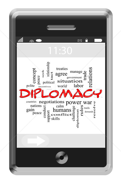 Diplomacy Word Cloud Concept on Touchscreen Phone Stock photo © mybaitshop