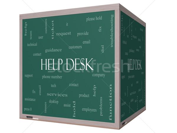 помочь столе слово облако 3D куб доске Сток-фото © mybaitshop