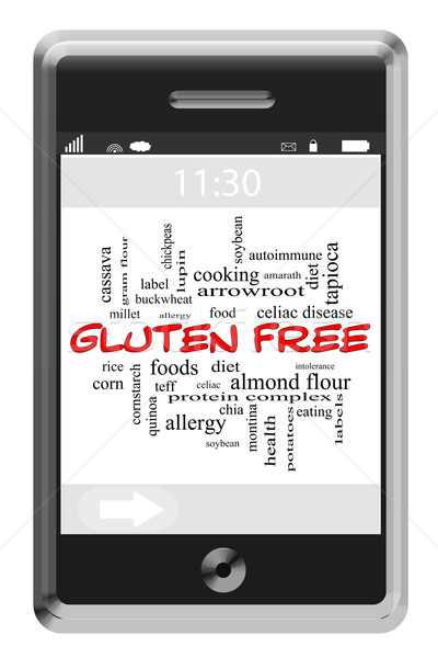 Gluten Free Word Cloud Concept on a Touchscreen Phone Stock photo © mybaitshop