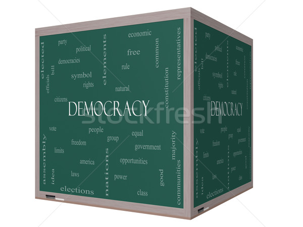 Democracy 3D cube Word Cloud Concept on a Blackboard Stock photo © mybaitshop