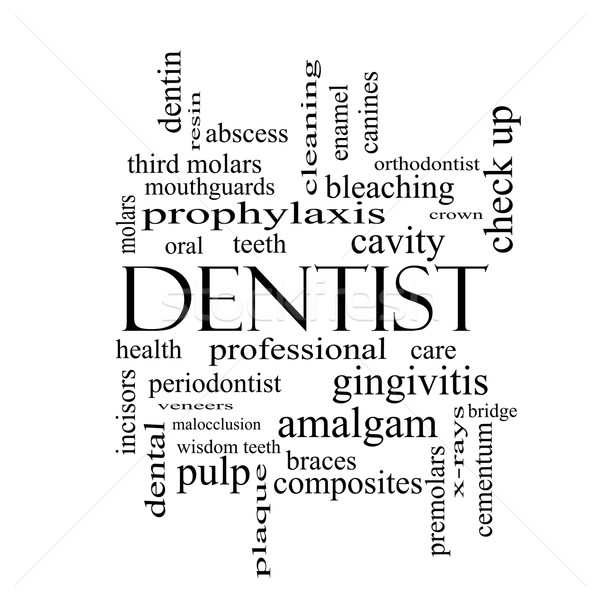Dentist Word Cloud Concept in black and white Stock photo © mybaitshop