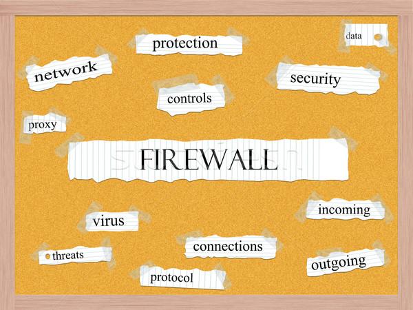 Firewall woord groot veiligheid gegevens meer Stockfoto © mybaitshop