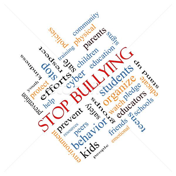 Stop megfélemlítés szófelhő nagyszerű diákok biztonság Stock fotó © mybaitshop
