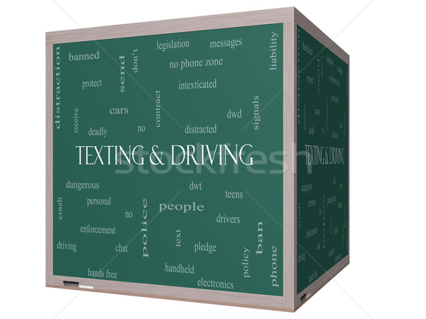 Texting and Driving Word Cloud Concept on a 3D Blackboard Stock photo © mybaitshop