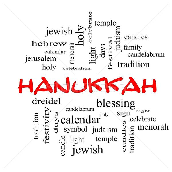 Hanukkah Word Cloud Concept in red caps Stock photo © mybaitshop