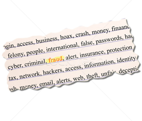 Fraud highlighted on paper full of related terms Stock photo © mybaitshop