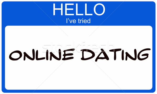 Hello I've Tried Online Dating blue name tag Stock photo © mybaitshop