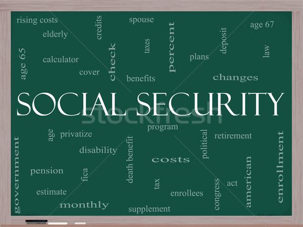 Társadalombiztosítás szófelhő iskolatábla nagyszerű kor nyugdíj Stock fotó © mybaitshop