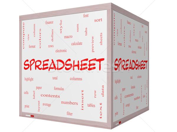 Táblázat szófelhő 3D kocka tábla nagyszerű Stock fotó © mybaitshop