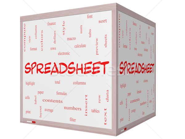 Spreadsheet Word Cloud Concept on a 3D Cube Whiteboard Stock photo © mybaitshop