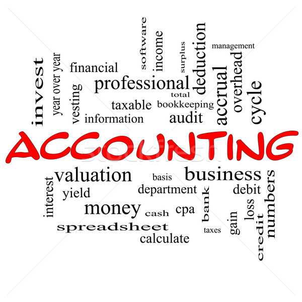 Accounting Word Cloud Concept in red caps Stock photo © mybaitshop