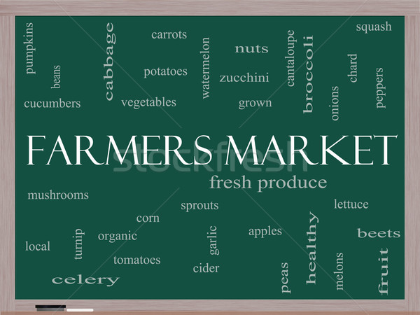 Farmers Market Word Cloud Concept on a Blackboard Stock photo © mybaitshop