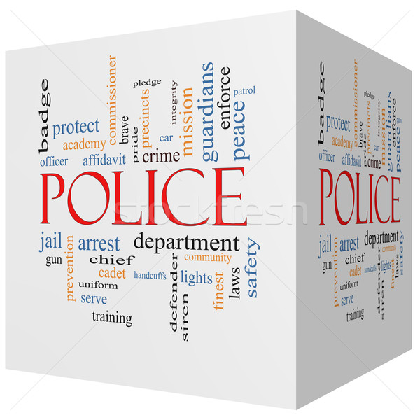 Police 3D cube Word Cloud Concept Stock photo © mybaitshop